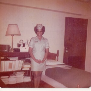 2Lt Margarett Ann Penny (born 1951) at Womens Army Corps training center, Fort McClellan, Alabama, c. 1974.